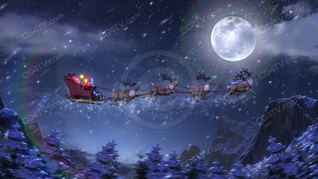christmas animated background santa rockets along in his